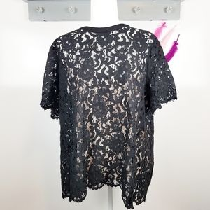 1X | The Limited Black Lace Overlay Career Blouse
